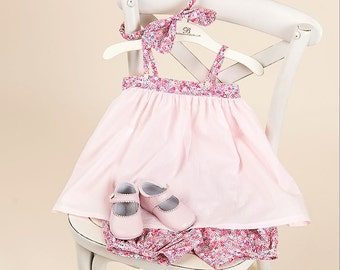 Petite Fleur Sun Dress, Bloomer, Headband Set (Rose)