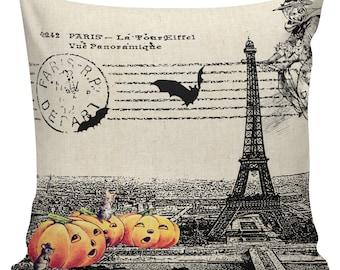 Halloween Pillow Vintage Paris Jack O Lantern Pumpkin Postcard Burlap Cotton Throw Pillow Cover #HA0150