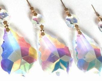 5 Iridescent AB French 63mm Chandelier Crystals Prisms Shabby Chic Suncatcher