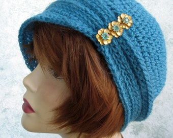 Womens Crochet Hat Pattern Cloche With Ribbing And Small Brim Instant Download May Resell Finished