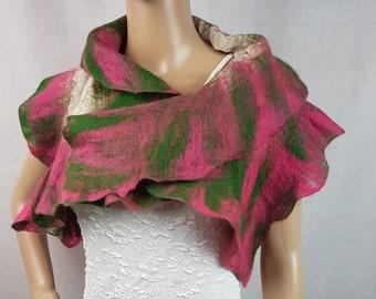 Handmade merino wool felt scarf shawl wrap pink green white