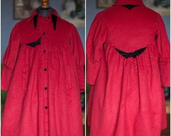 Vintage girl's cashmere coat / Red cashmere coat / 50s / S-M