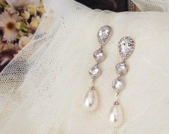 Pearl Bridal Earrings Drop Pearl Earrings Wedding Jewelry Long Bridal Earrings Swarovski Pearl Earrings Dangle Earrings Pearl Bridal Jewelry