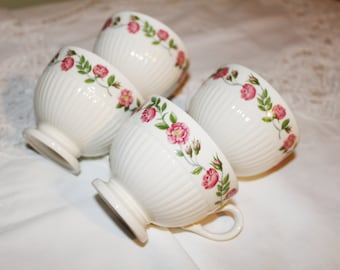 Wedgwood of Etruria and Barlaston 4 White Ribbed Cups Pink Floral Band Made in England