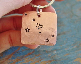 Constellation Keychain, Taurus Star Sign, Zodiac,Hand Stamped, Astrological Gifts, May Birthday Gift, Taurus, Constellation, Astrology Gifts