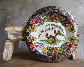 Vintage Rooster & Flower Tin Plate , 1950s Action Industries Brazil , Decorative Metal Plate or Shallow Bowl , Kitchen Decor