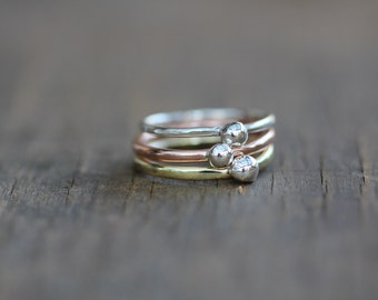 Stacking Rings made of Silver, Copper and Brass with 925 silver ball on top. Size N 1/2 Aus or 7