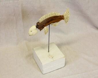 Fish sculpture with ceramic fins, unique