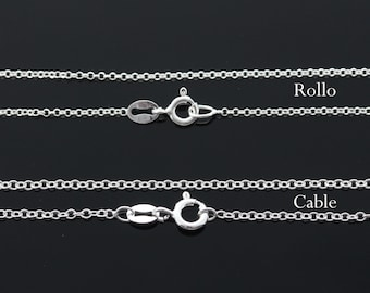 """Sterling silver Chian, silver rollo chain, sterling silver cable chain, 16', 18', 20"""", 22"""", 24"""" availble."""