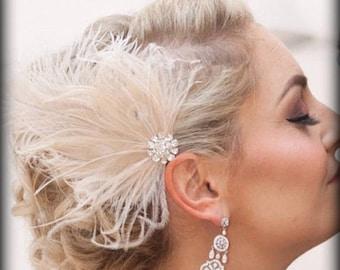 Hochzeit Haar Fascinator, Feder-Haarspange, Elfenbein Fascinator, Braut Haar Fascinator, Vintage-Stil Fascinator, große Gatsby, Braut Kamm