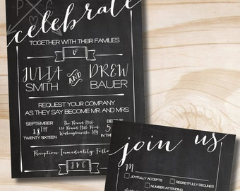 CELEBRATE Chalkboard Poster Wedding Invitation and Response Card Invitation Suite