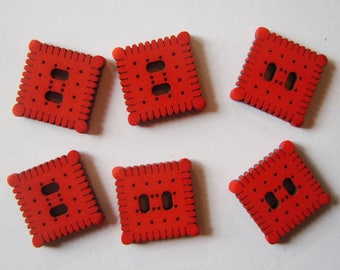 Large red Biscuit buttons - set of 6 buttons - French