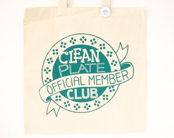 foodie gift, funny tote bag, clean plate club, food art