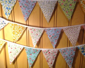 """Mini floral bunting with 4"""" shabby chic flags choose your length from 1m, ideal for winter weddings baby showers or decorating your home"""