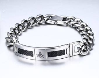 Stunning bracelet 316 L curb stainless steel and carbon free Mason