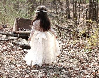 ivory lace girl dress, flower girl dress, flower girl dresses, lace flower girl dress, ivory baby dress, long sleeve flower girl dress