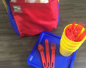 Vintage Primary Color Insulated Cooler Bag Sungear Collection Kolar Summer Picnic Set Red Blue and Yellow