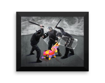 Police Party Framed photo paper poster