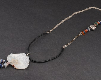 On Sale: 30% off. Rock Pendant, White Agate Slice, Silver and Leather Chain, Multicolor Beads, Rustic, Asymetrical
