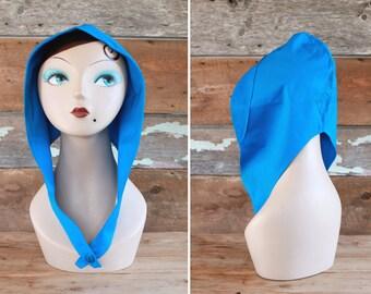 années 1940 capuche / pièce de tête des années 1940 par Tremblay / bleu coton foulard sur la tête