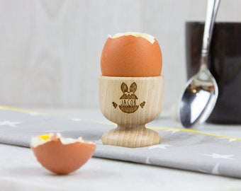 Personalised Wooden Egg Cup – Bunny Face & Chick - Easter Gift - Easter Breakfast