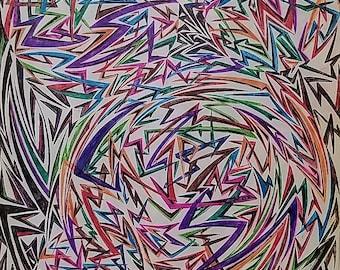 Original Abstract Drawing, Abstract Art, Geometric Art, Shapes