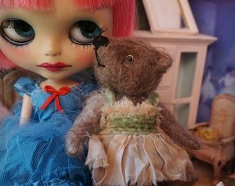 "OOAK Artist Bear -  SERAPHINA- 5"" Tall Soft Brown German Mohair Collectible Teddy Bear"
