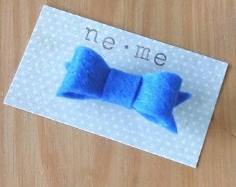 Royal Blue Felt Hair Bow Clip, Felt Bow, Mini Felt Hair Bow, Blue Hair Bow. Blue Dog Bow