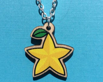 Kingdom Hearts Paopu Fruit Necklace - Sora Riku Kairi - Terra Aqua Ventus - FREE SHIPPING