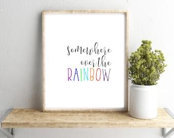 Somewhere Over the Rainbow Wall Art, Wizard of Oz Print, Dorothy Quote Printable, Home/Dorm/Nursery/Office Wall Art, Gray Frames Digital Art