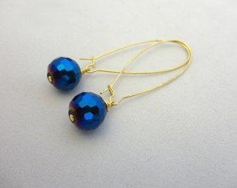 Blue Disco Ball Earrings