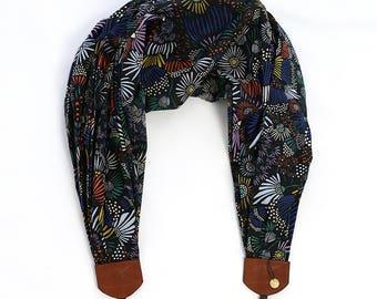 organic luxury batiste cotton scarf camera strap - midnight terrace - BCSCS092