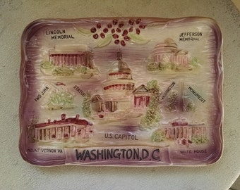 Washington DC Souvenir Plate Wall Hanging DC Sites State Collectible State Souvenir Display Piece Cherry Blossoms DC Collectible