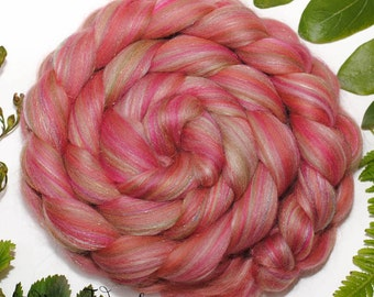 BROCADE - Custom Blend Merino, Natural Tussah Silk, Firestar  Combed Top Wool Roving for Spinning or Felting in bright colors -4 oz