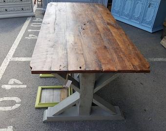 7 ft Barnwood Trestle Table