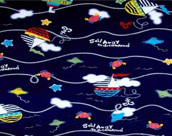 NEW Nautical Blanket Sailing Boat Sail Away Ocean Under the Sea Water Navy Blue Blanket Ocean Blanket Ocean Minky Fabric Sailing Fabric