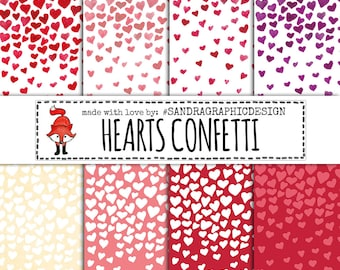 Hearts digital paper with HEARTS CONFETTI for scrapbooking, cards, etc (1238)