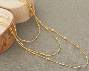 three gold layered necklace / multi strand necklace / medium length gold necklace / 3 strand gold necklace for woman / mothers day gift