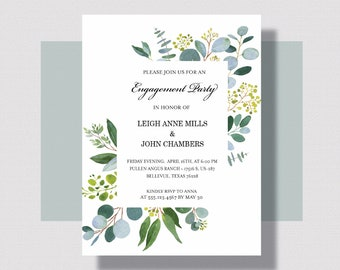 GREENERY ENGAGEMENT PARTY Invitation   Eucalyptus Leaf Engagement Party Invitation   Greenery Bridal Shower Engagement Party Invitation