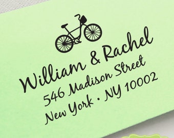 CUSTOM pre inked ADDRESS STAMP with bicycle, personalized gift, rsvp address stamp, custom Wedding Stamp - Bicycle Address Stamp c6-8