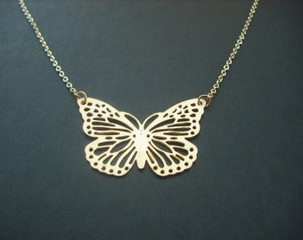 Gold Butterfly Necklace - matte 16K yellow gold plated
