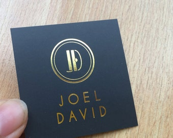 """200 Business Cards or hang tags - Mini Square 2""""x2"""" - 14 PT matte stock - Metallic foil - choice of gold, silver and more  - color printing"""