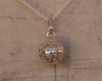 Harmony Ball - Chime Ball - Mexican Bola -  Bola Necklace Charm - Angel Caller - Pregnancy Gift - Sterling Silver - Sphere Pendant Only