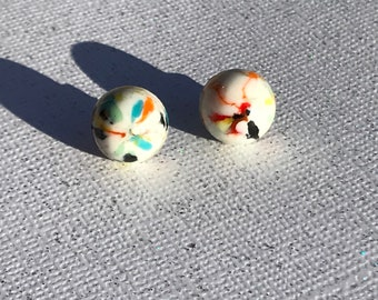 Vintage Round Ivory Rainbow Confetti Stud Earrings