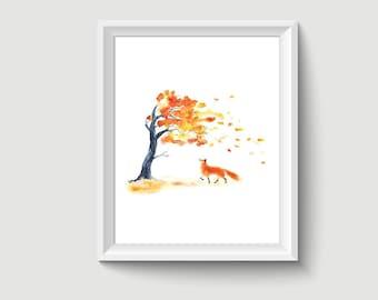 Fox Animal Watercolour Painting Drawing Art Print A410