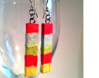 Pastel Hanji Paper Earrings OOAK Patchwork PInk Blue Yellow Boho Earrings Hypoallergenic hooks Dangel Earrings Lightweight