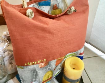 Orange and linen buoys tote bag