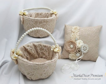Champagne Ring Pillows and Basket Set of 3 Lace Wedding Bridal Pillow Basket Set Bridal Brooch Flower Pillow Basket in Champagne, Ivory, Tan