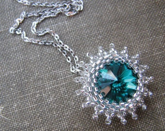 Emerald Green Crystal Necklace, Sterling Silver Chain, Beaded Bezel