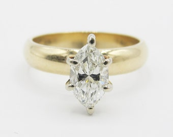 Sparkling 0.92ct Marquise Diamond Solitaire Engagement Ring 14k Yellow Gold